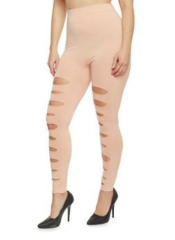 Plus Size Slashed Solid Leggings - BLUSH - 1969062906516