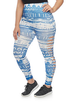Plus Size Slashed Tie Dye Leggings - 1969062906525