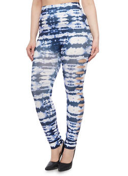Plus Size Slashed Tie Dye Leggings - 1969062906532