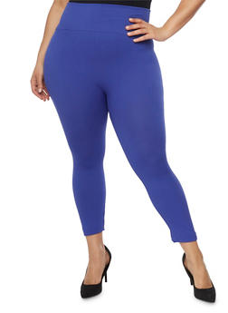 Plus Size Leggings with Waffle Knit Waist - 1969062906552