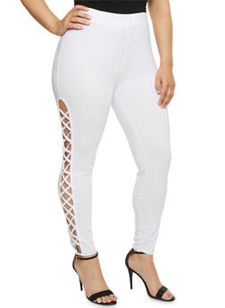 Plus Size Lattice Side Leggings - 1969062906577