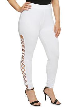 Plus Size Lattice Side Leggings - WHITE - 1969062906577