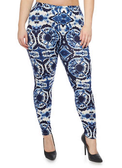 Plus Size Tie Dye Printed Leggings - 1969062906595