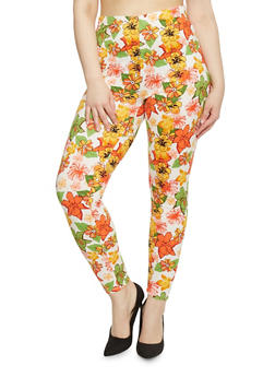 Plus Size High Waisted Floral Leggings - 1969062906597