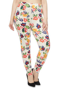 Plus Size High Waisted Floral Leggings - 1969062906598