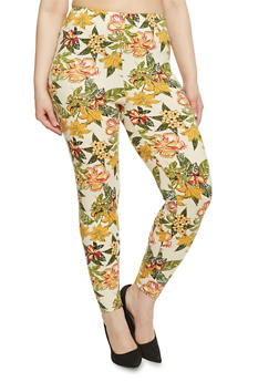 Plus Size High Waisted Floral Leggings - 1969062906604