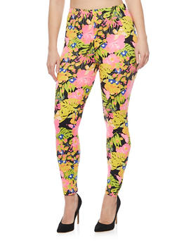Plus Size Neon Floral Brush Knit Leggings - 1969062906606