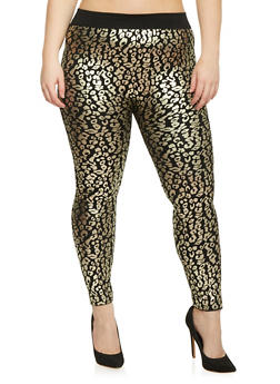 Plus Size Leopard Foil Screened Leggings - 1969062906661