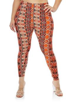 Plus Size Soft Knit Aztec Print Leggings - 1969062907004