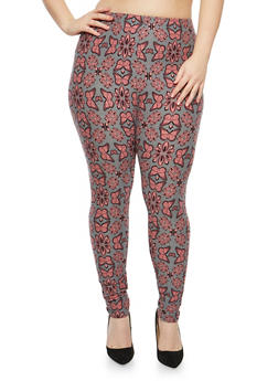 Plus Size Soft Knit Butterfly Printed Leggings - 1969062907071