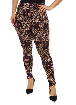Plus Size Soft Knit Printed Leggings - 1969062907270