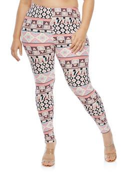 Plus Size Soft Knit Border Print Leggings - 1969062907478