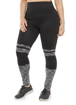 Plus Size Marled Detail Leggings - 1969062907533