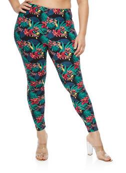 Plus Size Soft Knit Tropical Floral Leggings - 1969062907557