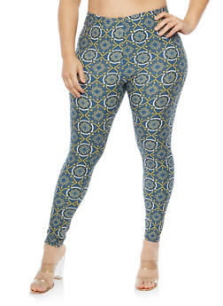 Plus Size Soft Knit Printed Leggings - 1969062907562