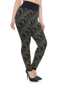 Plus Size High Waisted Leggings with Geo Print - 1969062908301