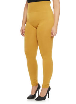 Plus Size High Waist Leggings - MUSTARD - 1969062909701