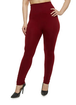 Plus Size High Waist Leggings - BURGUNDY - 1969062909701