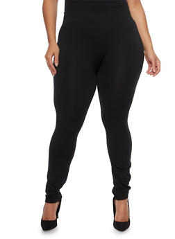 Plus Size Leggings with Fleece Lining - 1969072896043