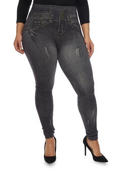 Plus Size Leggings in Distressed Denim Print - 1969072896080