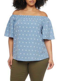 Online Exclusive - Plus Size Off the Shoulder Polka Dot Chambray Top - 1981058601547