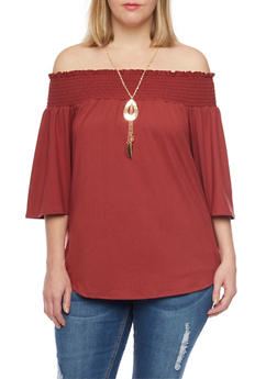 Online Exclusive - Plus Size Off the Shoulder Top with Necklace - 1981058601642