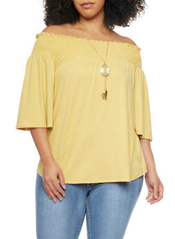 Plus Size Off the Shoulder Top with Necklace - MUSTARD - 1981058601642