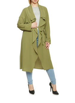 Online Exclusive - Plus Size Long Sleeve Belted Duster - OLIVE - 1983062709854