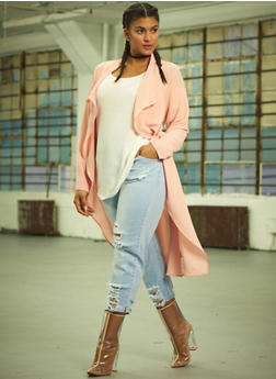 Online Exclusive - Plus Size Long Sleeve Belted Duster - BLUSH - 1983062709854