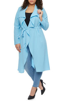 Online Exclusive - Plus Size Long Sleeve Belted Duster - 1983062709854