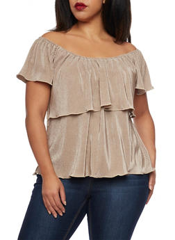Online Exclusive - Plus Size Crinkled Top with Ruffle Overlay - 1984020628181