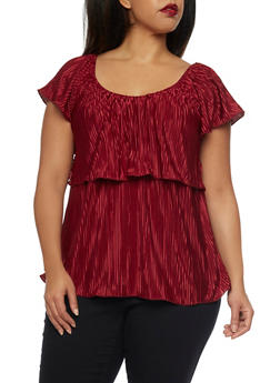 Plus Size Crinkled Top with Ruffle Overlay - 1984020628181