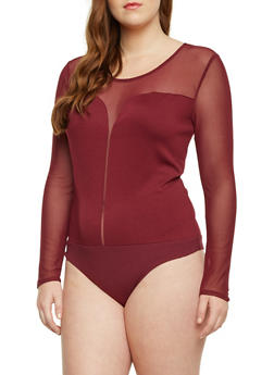Plus Size Bodysuit with Mesh Panel - BURGUNDY - 1984054267224