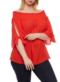 Online Exclusive - Plus Size Off the Shoulder Top with Tied Slit Sleeves - 1984058601049