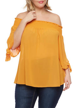 Plus Size Off the Shoulder Top with Tied Slit Sleeves - GOLD - 1984058601049