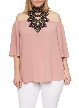 Online Exclusive - Plus Size Off the Shoulder Top with Crochet Halter Neck - 1984058601309