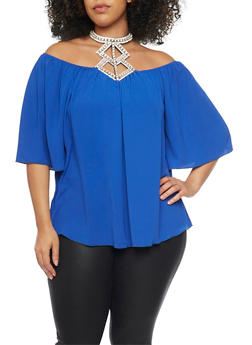 Plus Size Off the Shoulder Rhinestone Halter Neck Top - 1984058601347