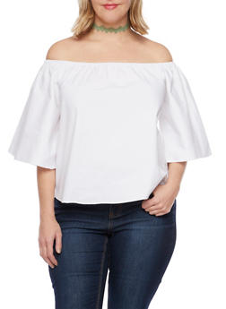 Plus Size Off The Shoulder Top - WHITE - 1984058601510