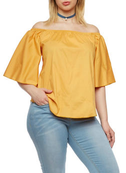 Plus Size Off The Shoulder Top - GOLD - 1984058601510