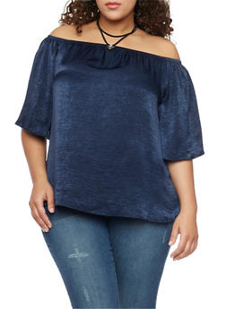 Online Exclusive - Plus Size Off The Shoulder Satin Top with Layered Choker - 1984058601540