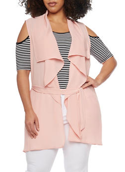 Online Exclusive - Plus Size Sleeveless Belted Flyaway Duster - BLUSH - 1984062709888