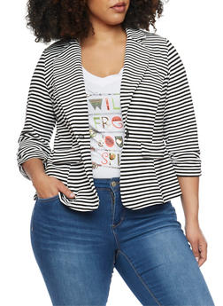Online Exclusive - Plus Size Striped Knit Blazer with Ruched 3/4 Sleeves - BLACK/WHITE - 1989068513563
