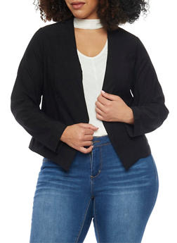 Online Exclusive - Plus Size Long Sleeve Open Blazer - BLACK - 1989068513585