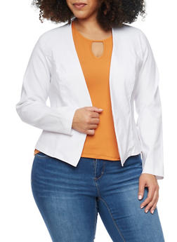 Online Exclusive - Plus Size Long Sleeve Open Blazer - WHITE - 1989068513585