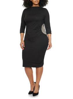 Plus Size Rhinestone Patch Midi Dress - BLACK - 1990058600007