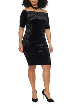 Plus Size Off the Shoulder Crushed Velvet Dress with Choker Necklace - BLACK - 1990058601544