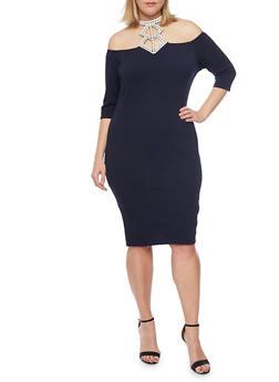 Online Exclusive - Plus Size Off the Shoulder Studded Halter Neckline Dress - 1990058601738