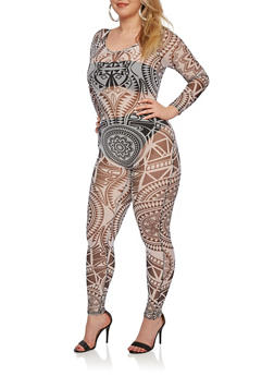 Plus Size Sheer Long Sleeve Catsuit with Geo Print - 1990058932084