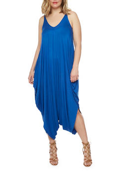Online Exclusive - Plus Size Sleeveless Parachute Jumpsuit - RYL BLUE - 1990062705624