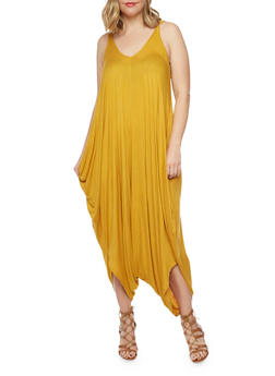 Online Exclusive - Plus Size Sleeveless Parachute Jumpsuit - MUSTARD - 1990062705624